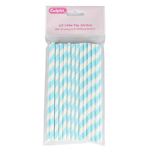 Candy Stripe Cake Pop Sticks - Blue 25 piece